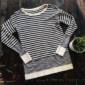 LOFT Black & White Striped Tunic Sweater SMALL EUC